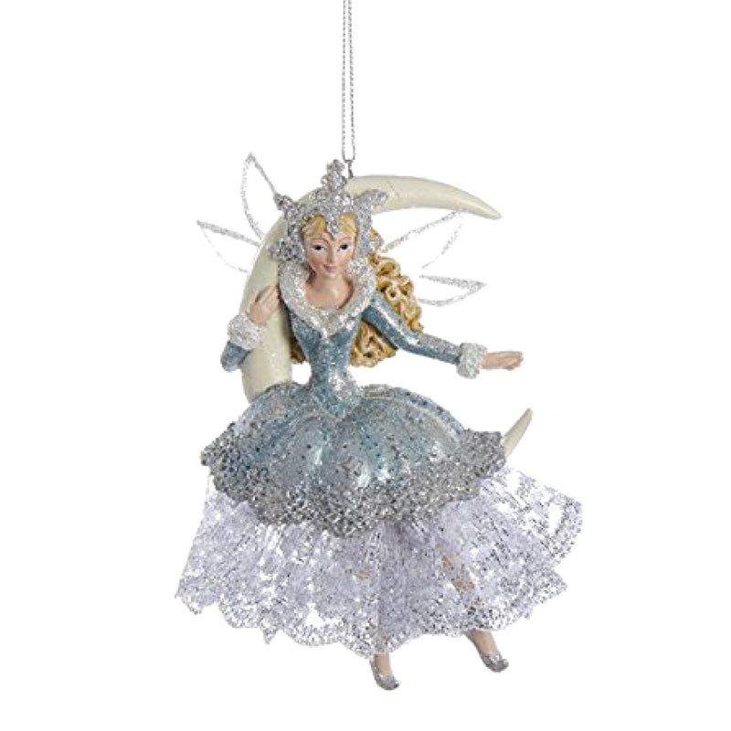 Kurt Adler Platinum and Teal Moon Fairy Ornament | Putti Christmas