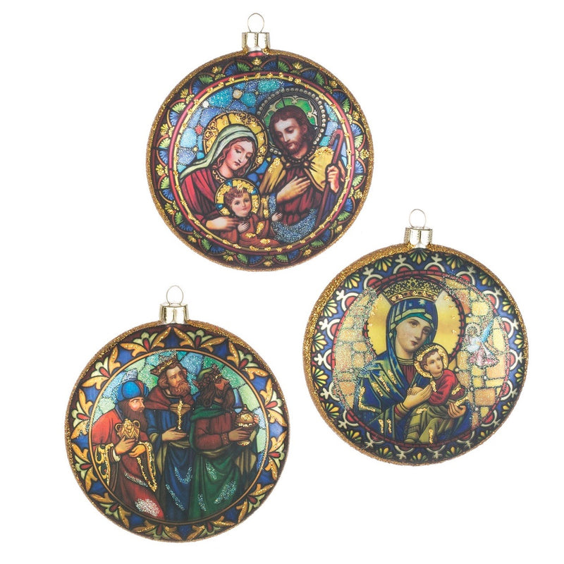 Nativity Glass Disc Ornament  | Putti Christmas Decorations