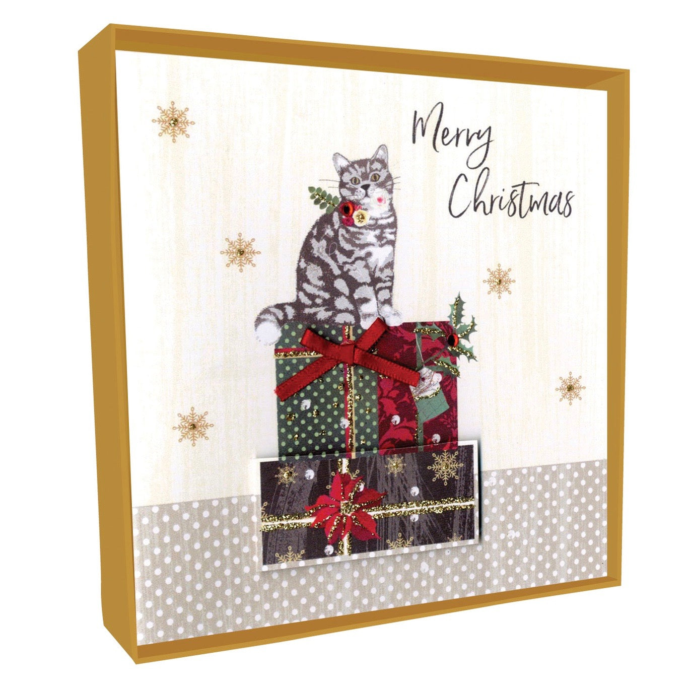"""Merry Christmas"" Cat on Presents Boxed Christmas Greeting Cards 