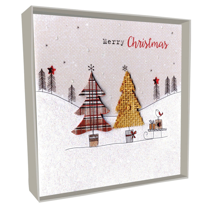 """Merry Christmas"" Trees with Sleigh Boxed Christmas Greeting Cards"