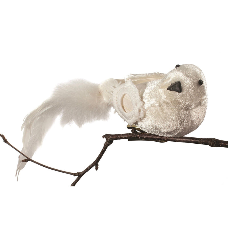 White Velvet Bird with Clip | Putti Christmas Decorations Canada
