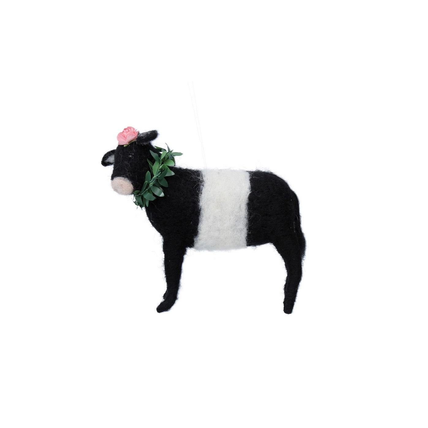 Black and White Cow With Flowers Felt Ornament | Putti Decorations