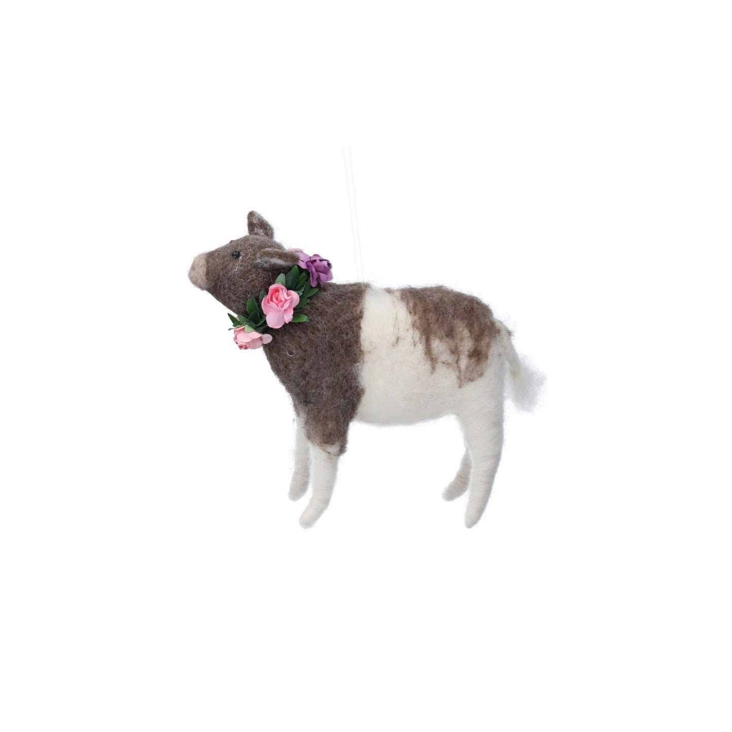 Brown and White Cow With Flowers Felt Ornament | Putti Decorations