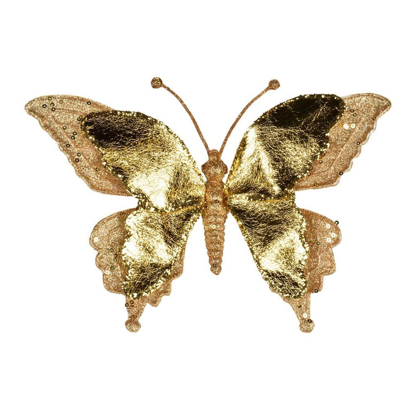 Metallic gold butterfly with Clip | Putti Christmas Decorations