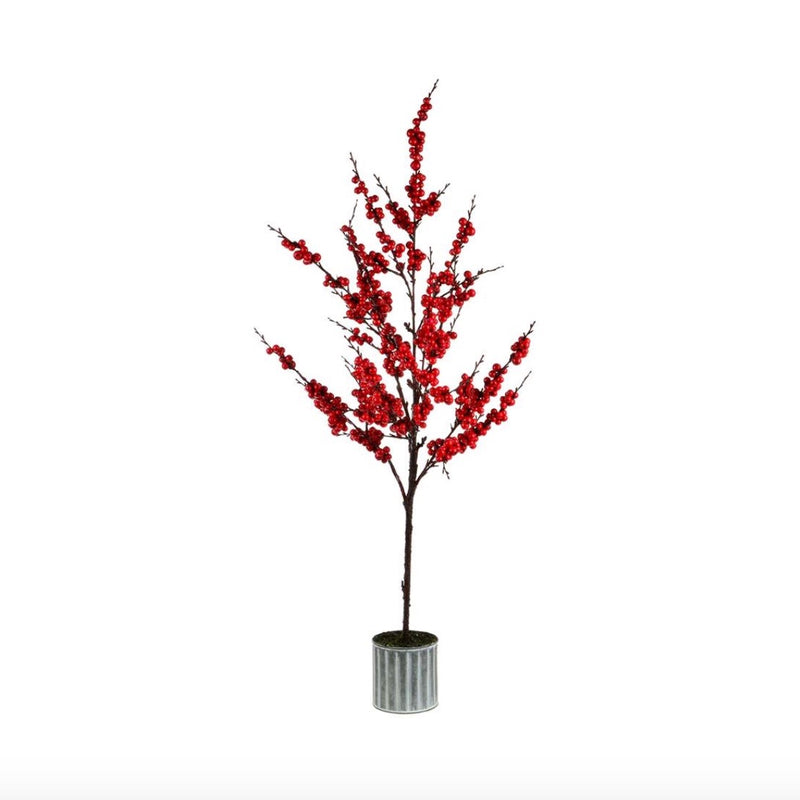 Red Berry Tree in Metal Pot