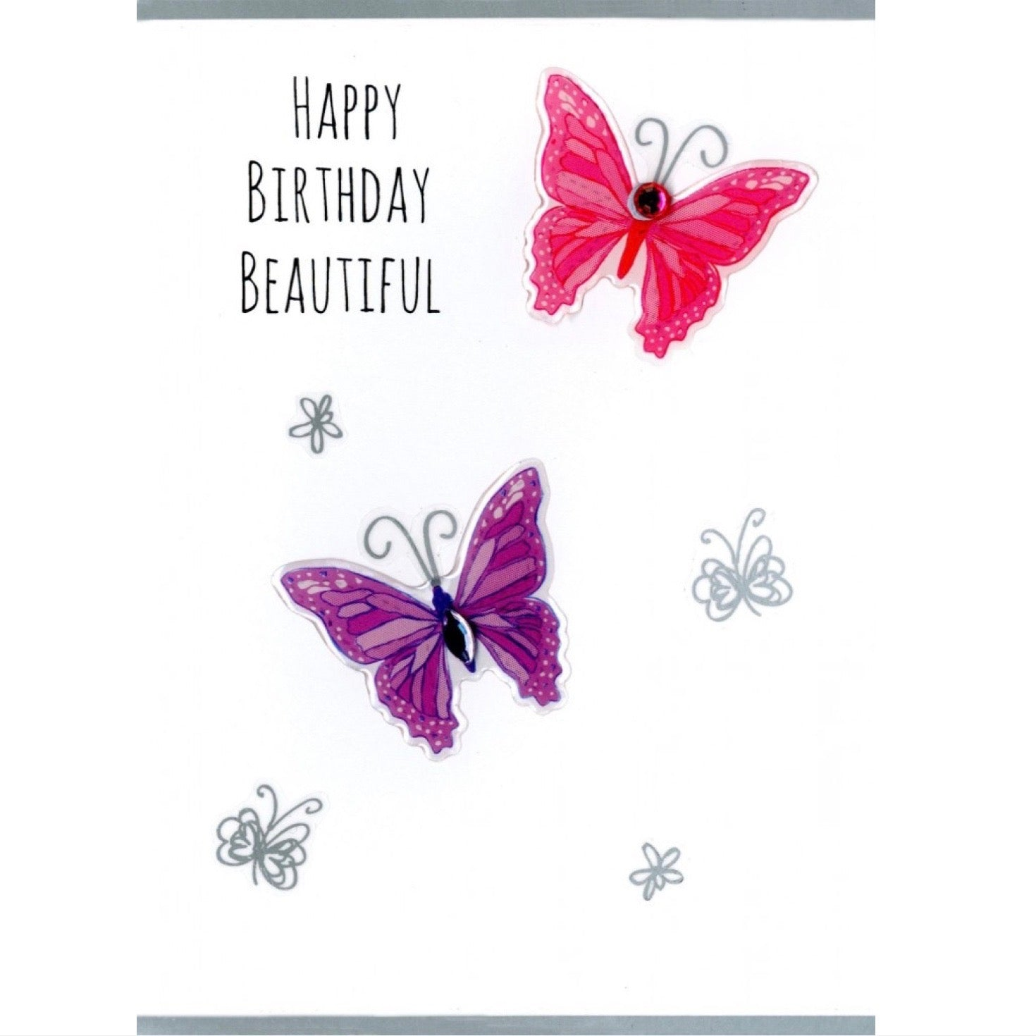 """Happy Birthday Beautiful"" Butterfly Greeting Card 