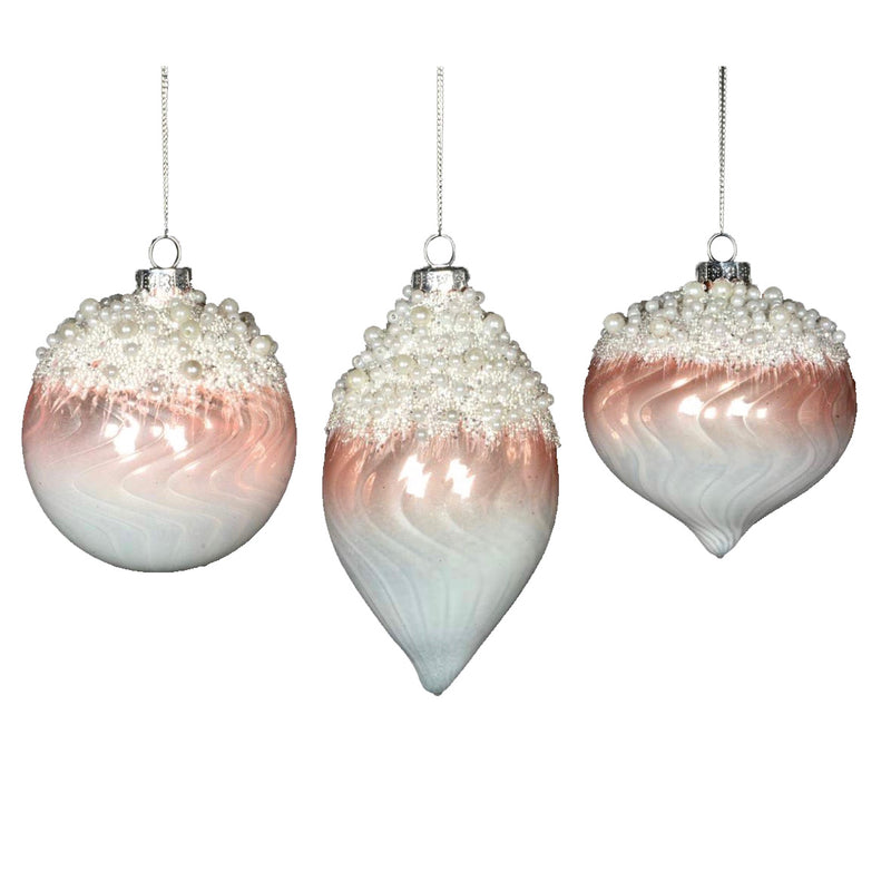 Ombre Pink with Pearls Glass Ornament | Putti Christmas Decorations