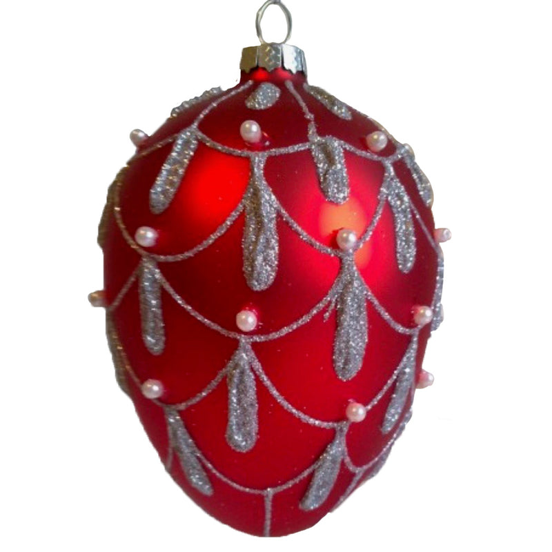 Red Glass Egg Ornament  with Formal Silver Swags
