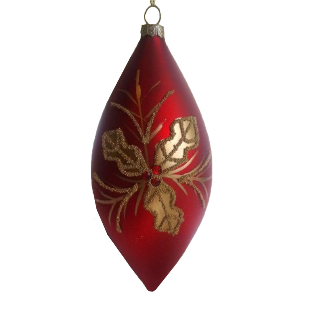 Red with Gold Holly Glass Double Point Ornament | Putti Christmas Canada