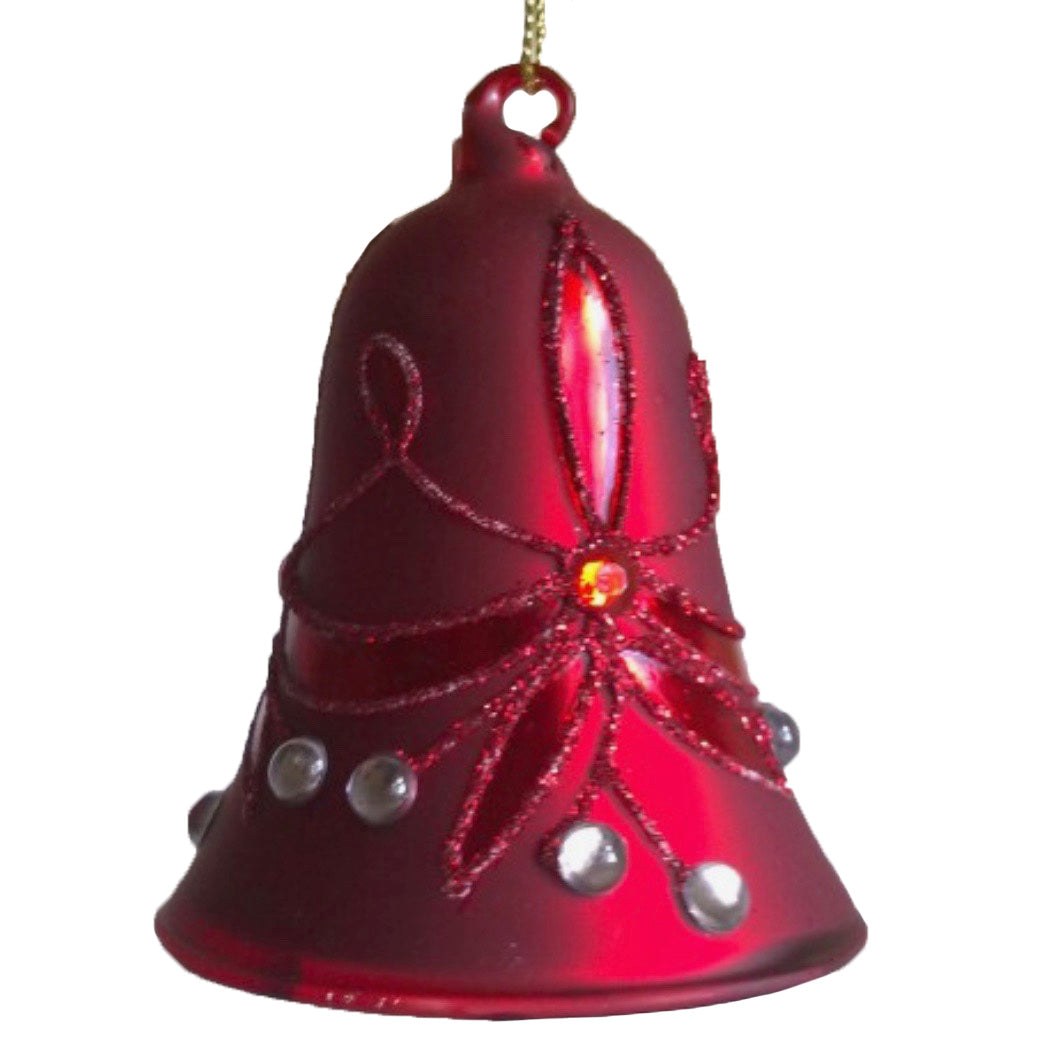 Red with Clear Jewels Glass Bell Ornament