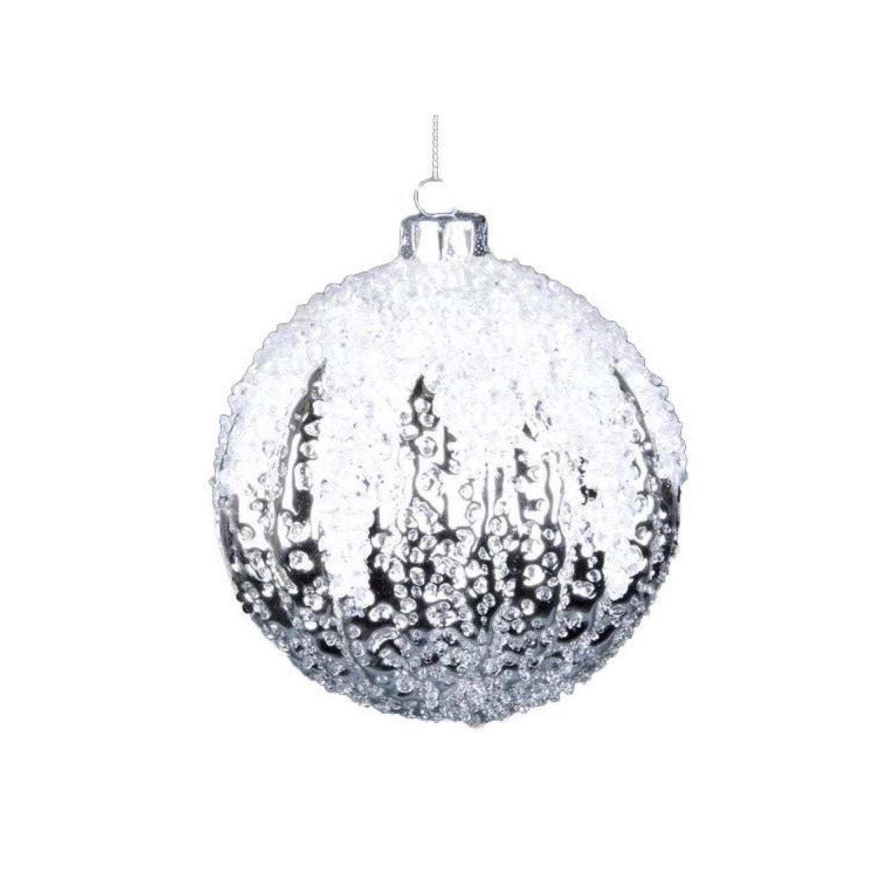 Iced Silver Glass Ball -Small |  Putti Christmas Celebrations Toronto Canada