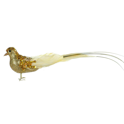Gold Beaded Feather Bird