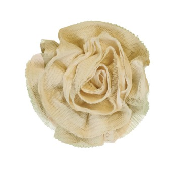 Miss Rose Sister Violet Ruffle Flower Brooch Cream-Accessories-Miss Rose Sister Violet-Cream Large-Putti Fine Furnishings