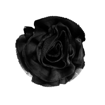Miss Rose Sister Violet Ruffle Flower Brooch Black-Accessories-Miss Rose Sister Violet-Black Large-Putti Fine Furnishings