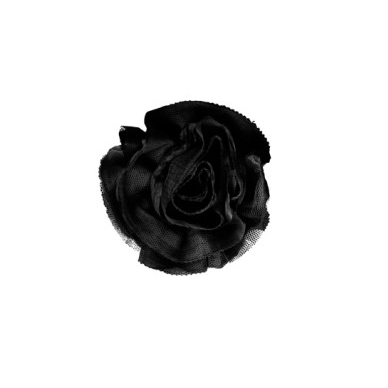 Miss Rose Sister Violet Ruffle Flower Brooch Black-Accessories-Miss Rose Sister Violet-Black Small-Putti Fine Furnishings