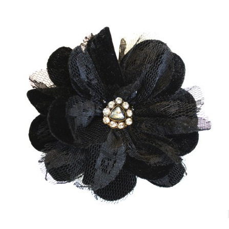 Miss Rose Sister Violet Velvet & Lace Flower Broach Black - Diamante Accessories - Miss Rose Sister Violet - Putti Fine Furnishings Toronto Canada - 1