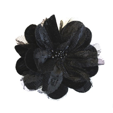 Miss Rose Sister Violet Velvet & Lace Flower Broach Black - Plain Accessories - Miss Rose Sister Violet - Putti Fine Furnishings Toronto Canada - 2
