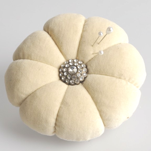 Miss Rose Sister Violet Velvet & Diamante Pin Cushion-Miss Rose Sister Violet-Putti Fine Furnishings