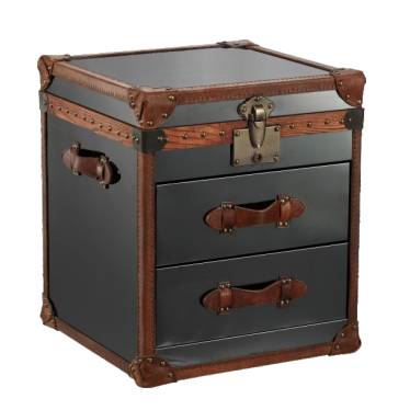 Black Stainless Steel Small Trunk with Brown Leather