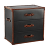 Black Stainless Steel and Brown Leather Trunk, BI-Bethel International, Putti Fine Furnishings