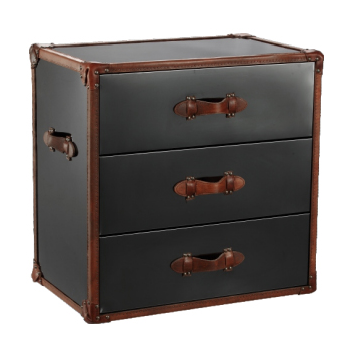 Black Stainless Steel and Brown Leather Trunk -  Furniture - Bethel - Putti Fine Furnishings Toronto Canada