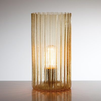 """Rido"" Ribbed Glass Hurricane Lamp - Amber, T&T-Torre & Tagus, Putti Fine Furnishings"
