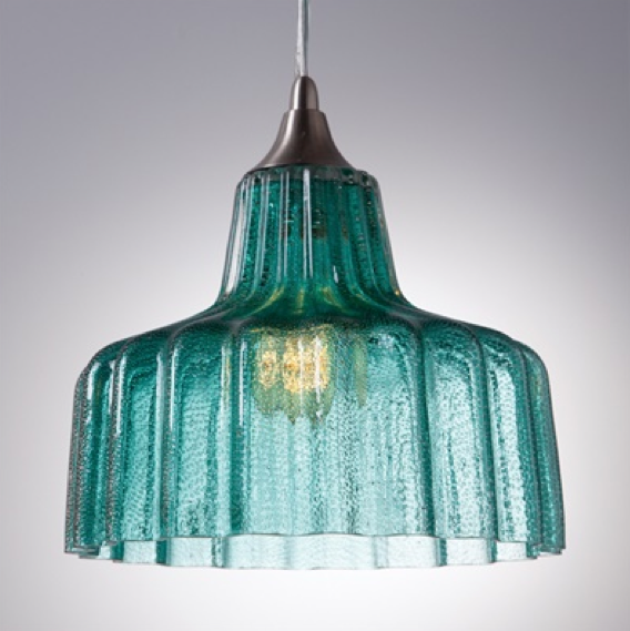 """Rido"" Ribbed Large Pendant Light - Turquoise"