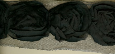 Miss Rose Sister Violet Large Ruffle Rose Braid Black - Black per yard Trim - Miss Rose Sister Violet - Putti Fine Furnishings Toronto Canada - 1