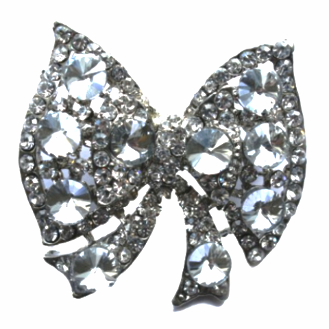 Miss Rose Sister Violet Vintage Style Diamante Brooch - Bow