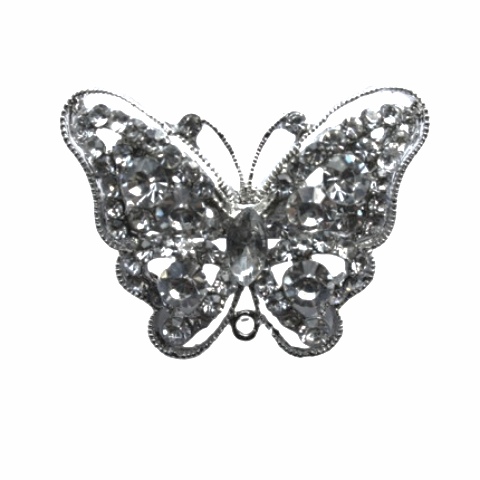 Miss Rose Sister Violet Vintage Style Diamante Brooch - Butterfly