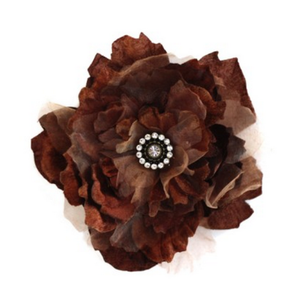Miss Rose Sister Violet Cabbage Rose Diamante Clip - Chocolate Brown