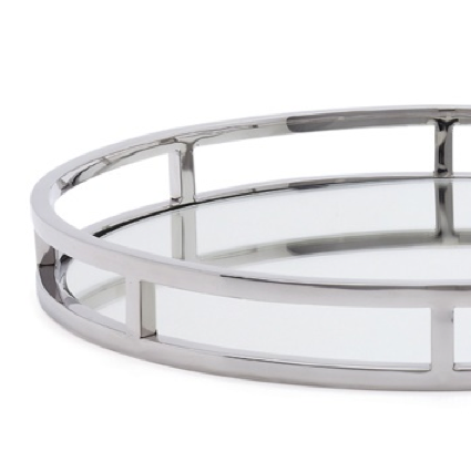 Round Stainless Steel Mirror Tray -  Accessories - Torre & Tagus - Putti Fine Furnishings Toronto Canada - 1