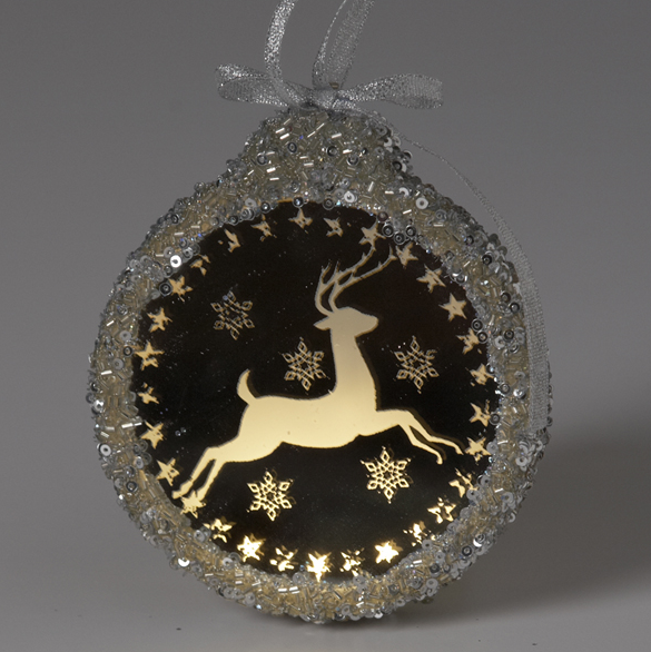 Prancing Deer Ornament with Light -  Christmas Decorations - Coach House - Putti Fine Furnishings Toronto Canada - 1