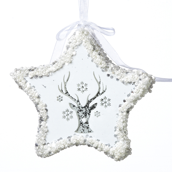 Deer Star Ornament with Light
