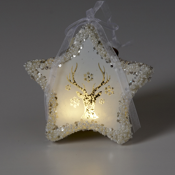 Deer Star Ornament with Light, V & L, Putti Fine Furnishings