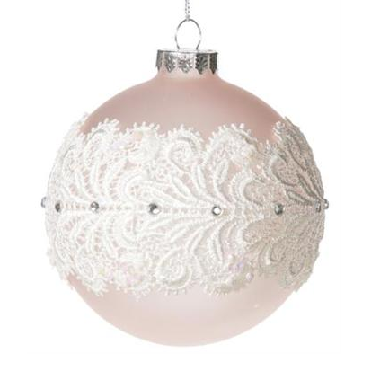 Frosted Pale Pink Ornament with Lace-Christmas-Floridus Design-Putti Fine Furnishings