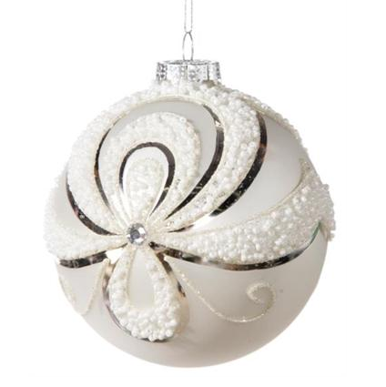 Matte White Ornament with Beaded Swags