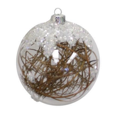 Clear Glass Ornament with Twigs