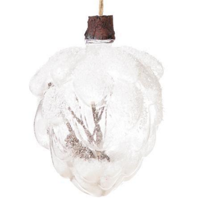 Clear Glass Pinecone Ornament with Twigs and Snow