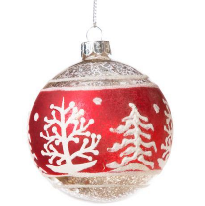 Retro Red Ornament with Christmas Trees