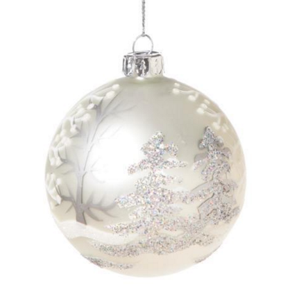 Retro Matte White Ornament with Trees