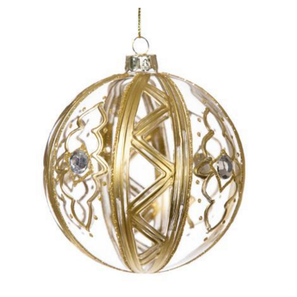Clear Glass ornament with Gold Motif