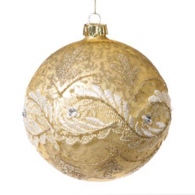 Pale Gold Ornament with Scrolling Lace -  Christmas - Floridus Design - Putti Fine Furnishings Toronto Canada