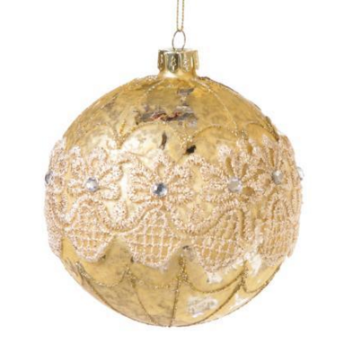 Pale Gold Ornament with Band of Lace-Christmas-Floridus Design-Putti Fine Furnishings