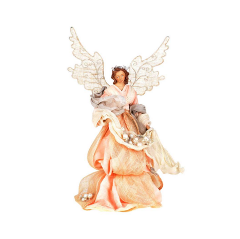 Pale Blush Pink Angel with Pearls Christmas Tree Topper Putti Fine Furnishings