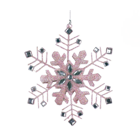 Pink Snowflake with Crystals