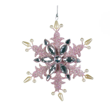 Pink Snowflake with Crystals and Pearls