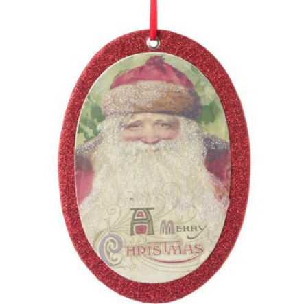 Victorian Santa Postcard Ornament -Oval