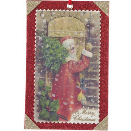 Victorian Santa Postcard Ornament - Rectangular, FDI-Floridus Design Images, Putti Fine Furnishings