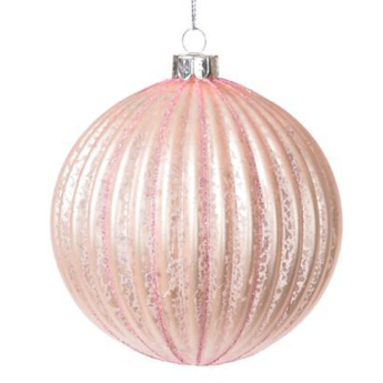 Pink Moulded Ridged Glass Ornament